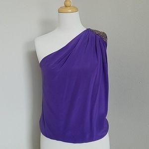 Robert Rodriguez 100% Silk One Shoulder Top